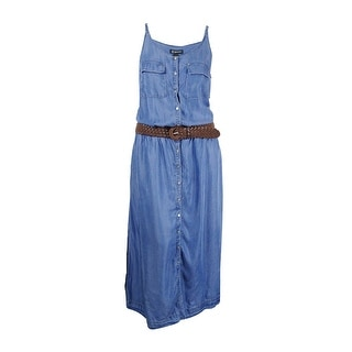 INC International Concepts Womens Plus Size Denim Belted Maxi Dress (1X, Indigo)