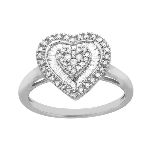 1/3 ct Diamond Heart Ring in 14K White Gold