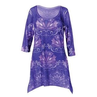 Women's Tunic Top - Purple Lotus Print 3/4 Sleeves Blouse