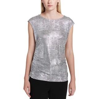 Calvin Klein Womens Blouse Metallic Cap Sleeves
