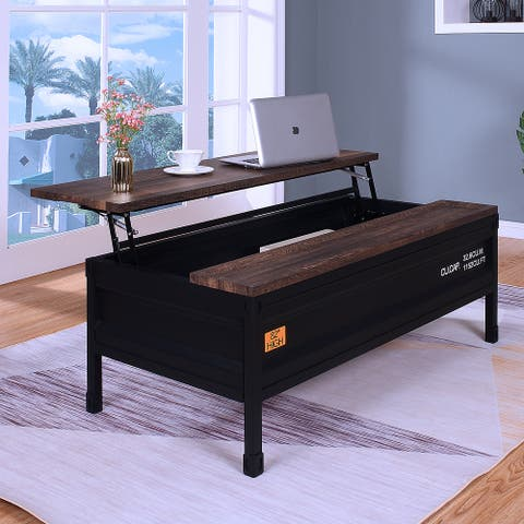 Furniture of America Orya Industrial Black Lift-Top Coffee Table