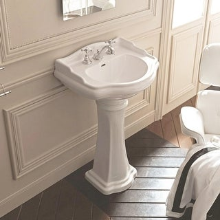 "WS Bath Collections 1047 1070 28-3/4"" Ceramic Pedestal Bathroom Sink with 1 or 3 Holes Drilled and Overflow - n/a"
