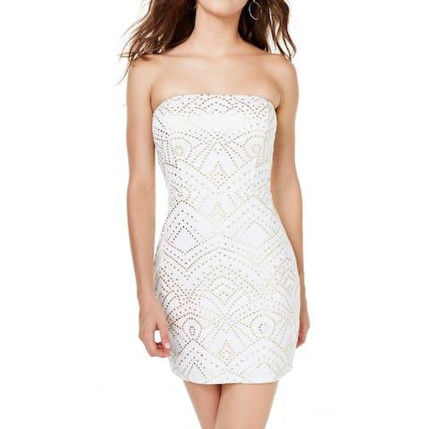 Jump Apparel Dress White Size XL Junior Sheath Geometric Printed