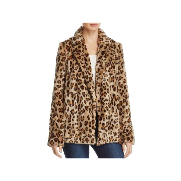 03b9ce3f83ff Shop Theory Womens Clairene Faux Fur Coat Winter Leopard Print ...