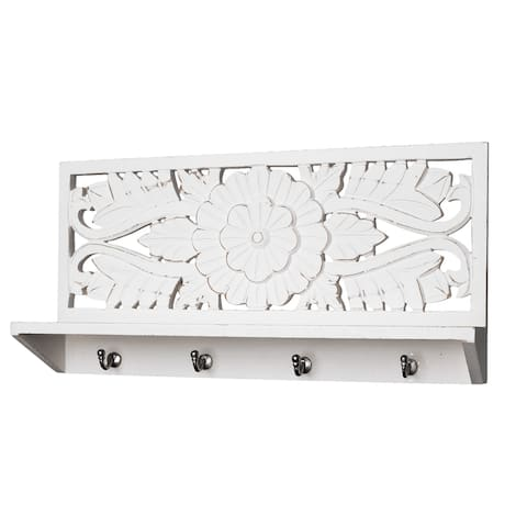 American Art Decor Hand-Carved Wooden Wall Shelf and Coat Rack - White