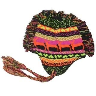 Girls Black Multi Color Inca Goat Pattern Fringed Mohawk Earflap Beanie