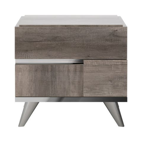 2 Drawers Wooden Frame Nightstand with Metal Trim, Brown and Silver
