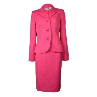 Le Suit Women's Three Button Floral Jacquard Skirt Suit