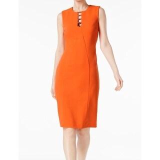 Calvin Klein Ember Orange Womens Size 4 Scuba Seamed Sheath Dress