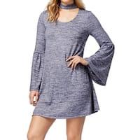Kensie Blue Womens Size Small S Choker Bell Sleeve Shift Dress