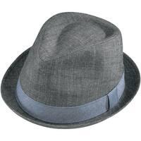 Henschel Men's Cotton Denim with Striped Band Fedora Hat