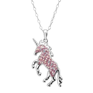 Crystaluxe Magical Unicorn Pendant with Swarovski Crystals in Sterling Silver - Pink