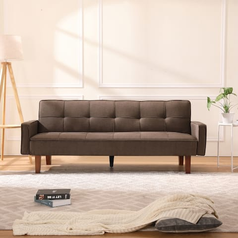 """Global Pronex Futon Couch Bed, Modern Button-Tufted Sofa Bed - Brown - 74.8""""L x 33.86""""W x 31.1""""H"""