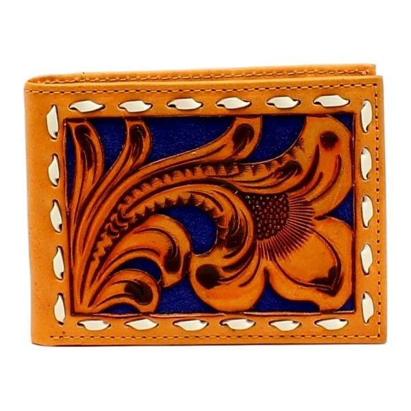 Nocona Western Wallet Mens Bifold Floral Lacing Tan Blue - One size