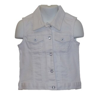 Little Girls Stretch Twill White Denim Stretch Bottom Vest 6M-4T