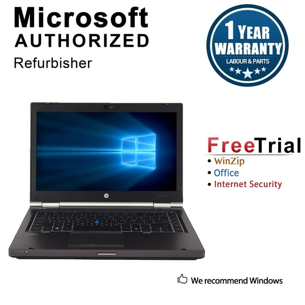 "Refurbished HP EliteBook 8460W 14.0"" Intel Core i5-2520M 2.50GHz 4GB DDR3 320GB DVD Windows 10 Pro 64 Bits 1 Year Warranty"