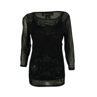 INC International Concepts Women's Faux Leather Trim Top - Deep Black - pl