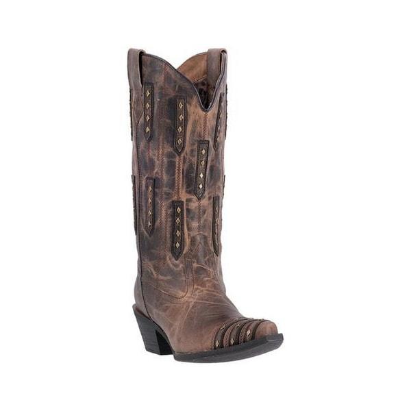 Laredo Western Boots Womens Edgy Fun Stud Leather Snip Tan