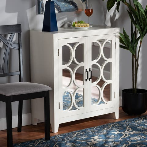 Garcelle Modern/Contemporary Wood and Mirrored Glass 2-Door Sideboard