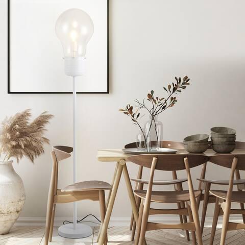 HOMCOM Industrial Tall Pole Floor Lamp with Metal Base, Bulb-Shaped Glass Shade, and E26 Bulb - 10.75'' x 62.25'' H