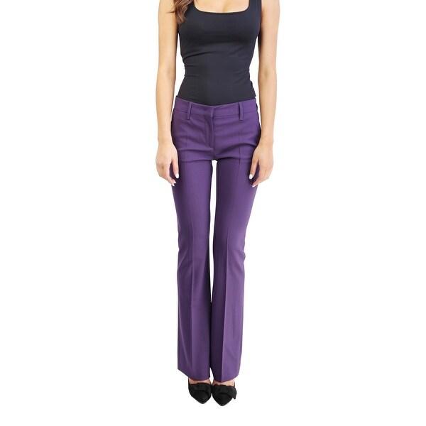 Prada Women's Virgin Wool Slim Fit Chino Pants Purple