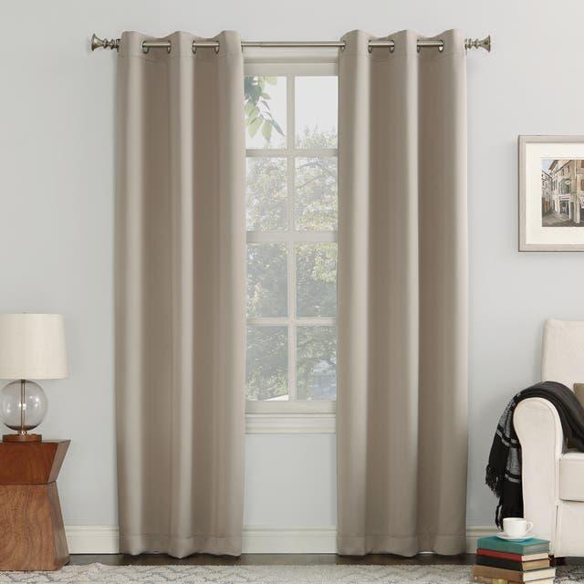 Sun Zero Hayden Energy Saving Blackout Grommet Curtain Panel, Single Panel - 40x54 - Stone