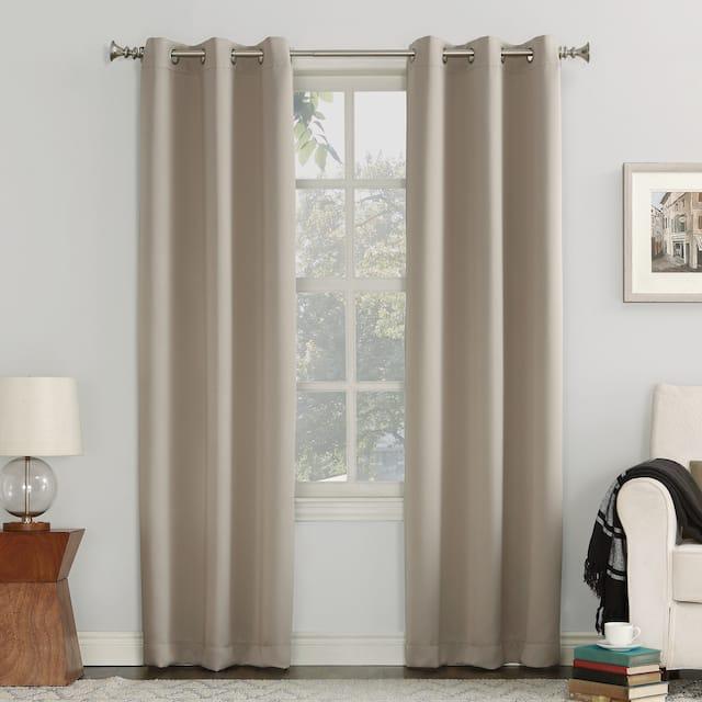 Sun Zero Hayden Energy Saving Blackout Grommet Curtain Panel, Single Panel - 54 x 95 - Stone