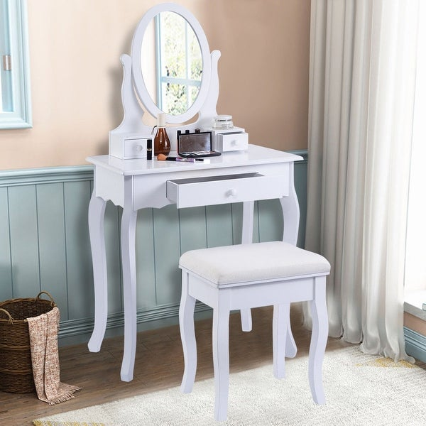 Costway White Vanity Table Jewelry Makeup Desk Bench Dresser Bathroom W/  Stool 3 Drawers
