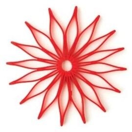 HIC 16813 Blossom Multi-Use Silicone Trivet, Red