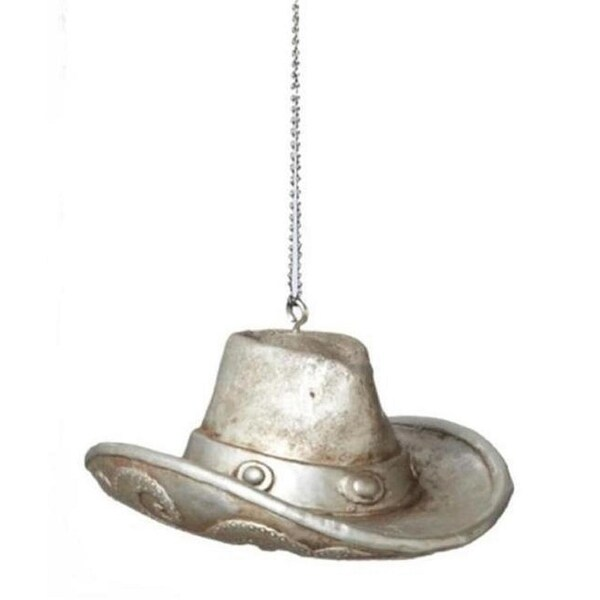 """3"""" Wild West Country Western Silver Cowboy Hat Christmas Ornament"""