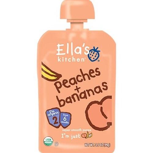 Ella's Kitchen - Peaches & Banana Puree ( 12 - 3.5OZ)