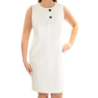 Womens White Sleeveless Above The Knee Sheath Dress Size: 12