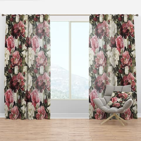 Designart 'Floral Pattern with Peonies' Bohemian & Eclectic Curtain Panel