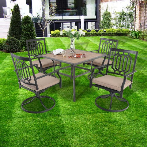 PHI VILLA 5-Pcs Outdoor Dining Set: Metal Swivel Dining Chair with Cushion and Wood-Look Patio Dining Table with Umbrella Hole