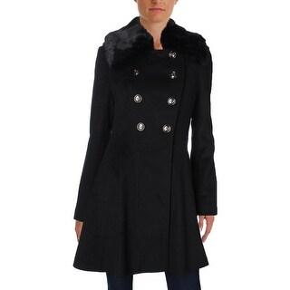 Via Spiga Womens Pea Coat Double Breasted Fur Trim