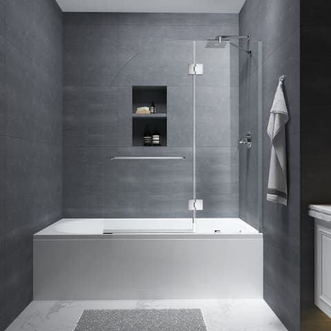 """FELYL 48"""" W × 58"""" H Hinged Frameless Tub Door with Heat Soaking Process and Protective Coating Clear Glass"""