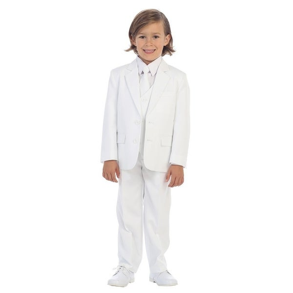 Little Boys White Jewels & Gents Jacket Vest Shirt Tie Pants 5 Pc Suit