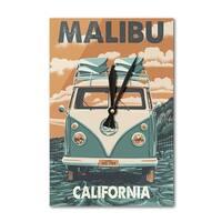 Malibu, CA - VW Van Letterpress - LP Artwork (Acrylic Wall Clock) - acrylic wall clock