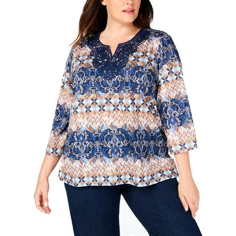 Alfred Dunner Womens Plus Pullover Top Embroidered Printed - 2X