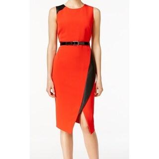 Calvin Klein NEW Red Women's Size 14 Sheath Faux Leather Trim Dress
