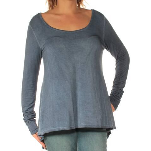 KUT Womens Navy Long Sleeve Scoop Neck Top Size: L