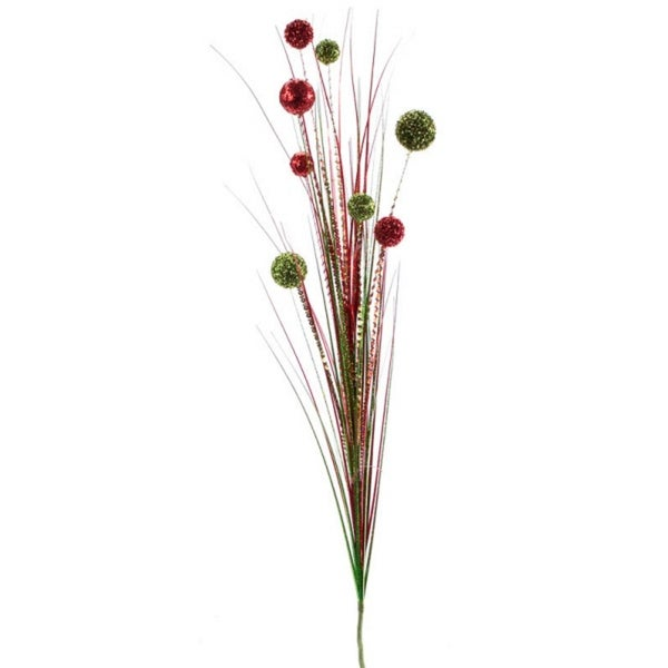 """12 Artificial Bright Red and Green Christmas Glittered Ball and Grass Sprays 48"""""""
