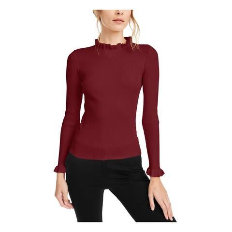 ANNE KLEIN Womens Maroon Long Sleeve Mock T-Shirt Sweater Size XL
