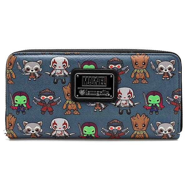 Loungefly X Marvel Guardians of the Galaxy Allover Character Print Kawaii Zip Around Wallet - One Size Fits most