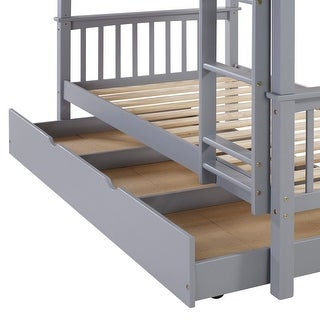 Offex Solid Wood with Painted Finish Twin Trundle Bed - Grey