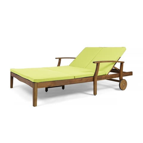 Perla Outdoor Wood Double Chaise Lounge by Christopher Knight Home