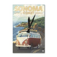 Sonoma Coast, CA - VW Van Coastal - LP Artwork (Acrylic Wall Clock) - acrylic wall clock