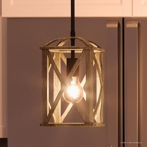 """Luxury Farmhouse Pendant, 12.75""""H x 7.5""""W, with Tuscan Style, Wood Grain Metal with Antique Black Finish by Urban Ambiance - 7.5"""
