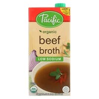 Pacific Natural Foods Beef Broth - Low Sodium - Case of 12 - 32 Fl oz.