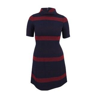 Tahari ASL Women's Striped Mock-Neck A-Line Dress - navy/crimson